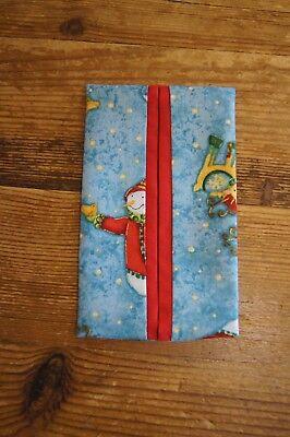 Natale Tessuto Custodia/supporto Fatto A Mano Blu, Con Pupazzi Di Neve, Renna, Rosso-