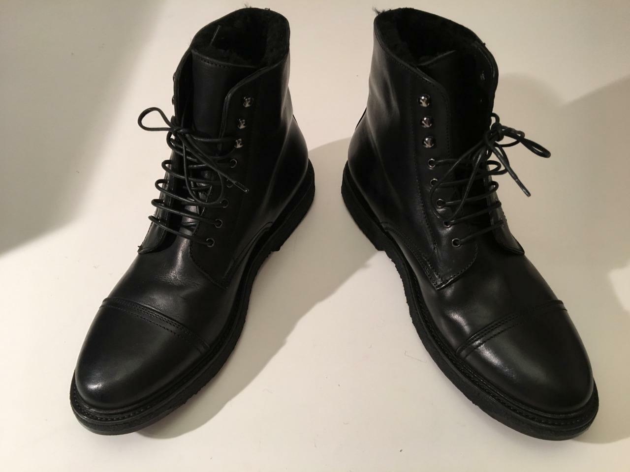 Nuevo en Caja Auth RALPH LAUREN Trystan vachetta Negro de Cuero de Piel de Oveja Piel botas 10D