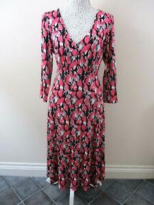 Artigiano-dress-size-14-stretch-Nwot-pink-mix-abstract-fit-amp-flair-midi-pretty