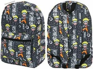 314c9149397d Details about Licensed Naruto Shippuden Ninja Academy Anime All Over  Character Backpack Black