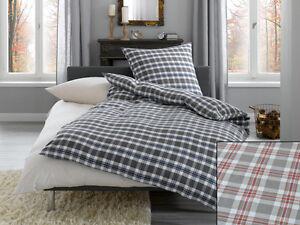 feinflanell winter bettw sche garnitur 100 baumwolle blau grau o rot grau karo ebay. Black Bedroom Furniture Sets. Home Design Ideas