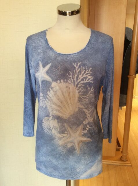 Gerry Weber Top Size 10 BNWT Blue Cream 3/4 Sleeves RRP £75 NOW £22