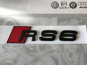 AUDI-RS6-Trasero-Arranque-Tronco-Insignia-emblema-logo-negro-brillante