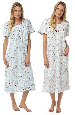 Floral Short Sleeves Nightdress Blue Pink Plus size 8//26 UK SLIP Nightwear