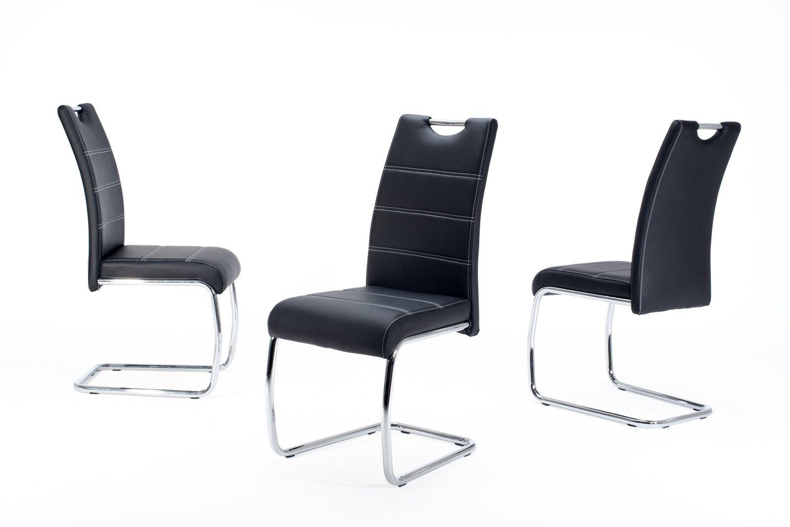 Esszimmerstühle Stuhl Freischwinger 4er Set  ELENI Schwarz