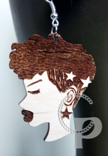 African woman sillhouette natural hair updo Afro locs wooden earrings large