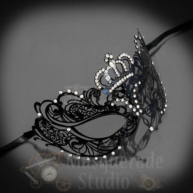 Womens Black Egyptian Chain Venetian Filigree Metal Mardi Gras Masquerade Mask