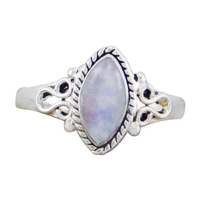 925 Sterling Silver Hot Selling Rainbow Moonstone New Designer Ring SZ-6 7 8 9