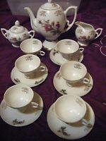 Vintage 1960;s Porcelain Japan 16pc Tea Set Rosemary Designed Trimmed in Gold