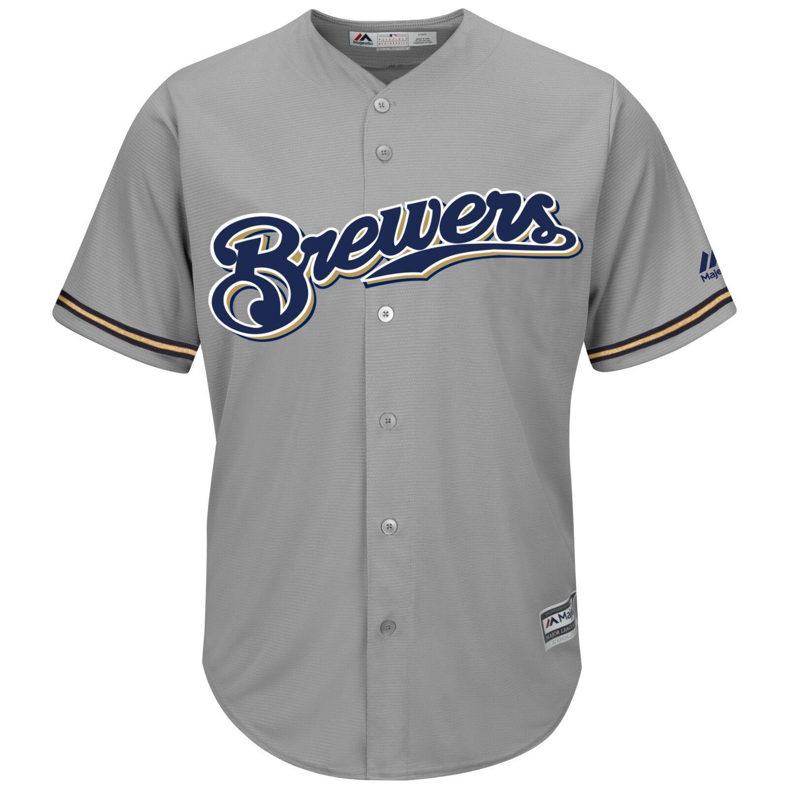 MLB Baseball Trikot Milwaukee Brewers grau Cool base Majestic Jersey