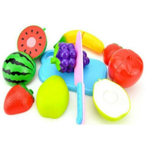 Pretend Role Play Kitchen Fruit Vegetable Food Toy Cutting Set Child Kids Gift H