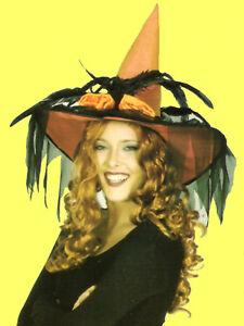5a0de85db6c4f excl. HEXENHUT mit Schleier orange zu Kostüm Hexe Hut Zauberin Damen ...