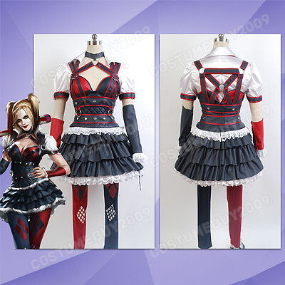 Batman:Arkham Knight City Harley Quinn Dress Halloween Cosplay Costume Attire