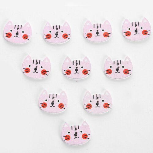 20Pcs Cat Fashion Wood Buttons Children Garment Accessories Sewing Craft