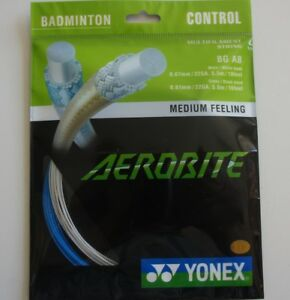 2 Packs YONEX Badminton Hybrid String Aerobite BG AB,  Blue/White, Made in Japan