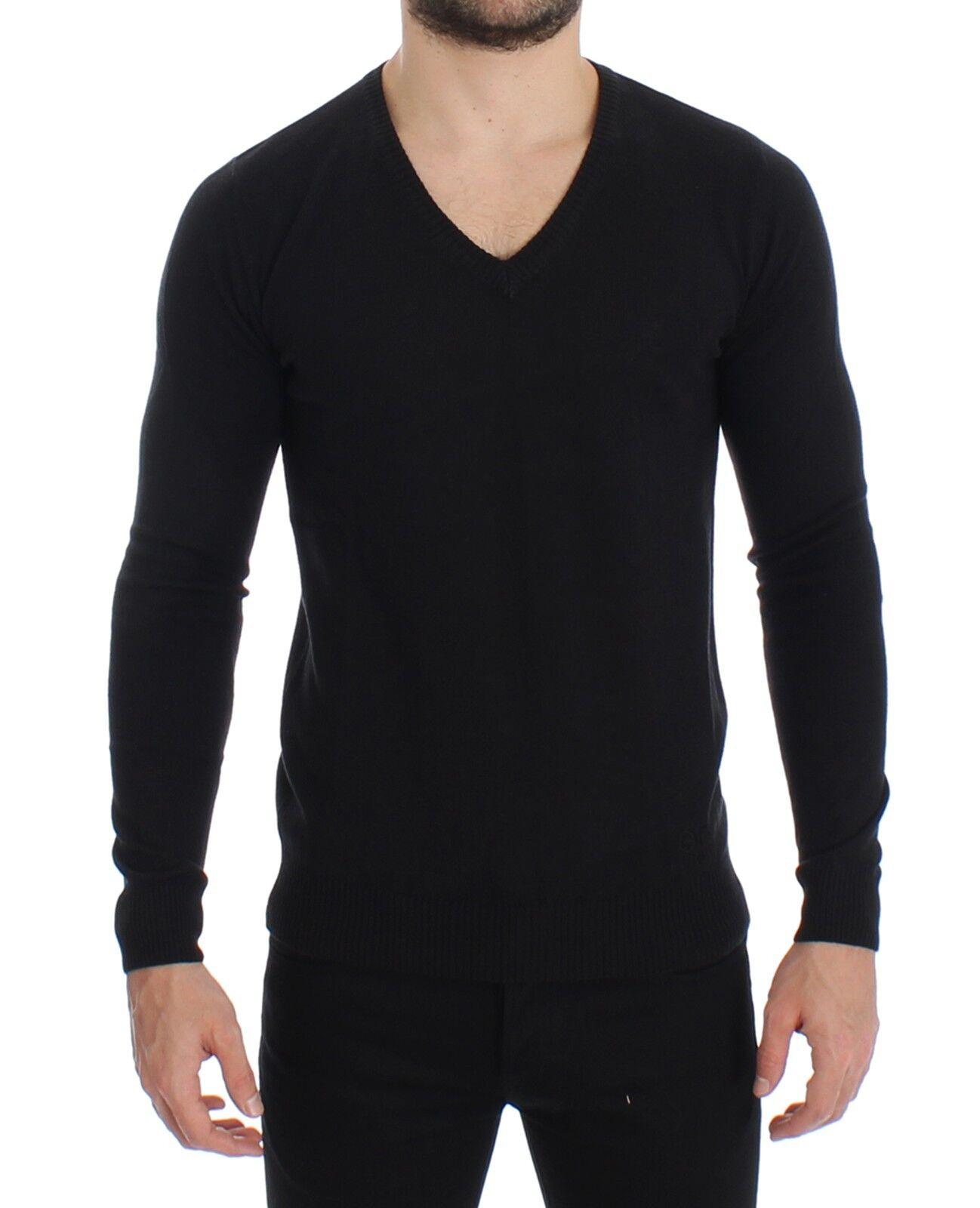 Nuevo  300 Gianfranco  GF Ferre Suéter Negro De Lana mezcla para hombre cuello en v suéter S. M  marca