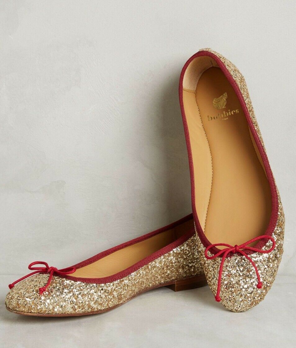 NEW Anthropologie Bobbies Metallic La Comedienne Ballet Flats Size 37