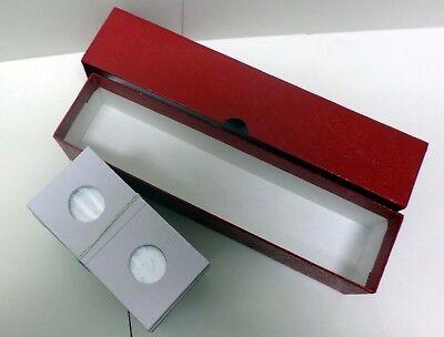 3 Red Storage Box Case 300 NICKEL 2x2 Flip Mylar Cardboard 21.2mm Coin Holder
