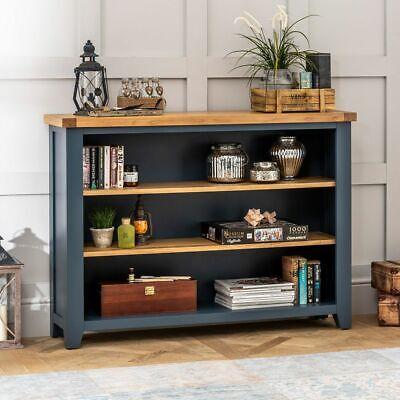 Westbury Blue Painted Wide Low Bookcase - Long Bookshelf 3 ...