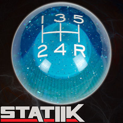 STATIIK BLUE SPARKLE SHIFT KNOB FOR 5 SPEED SHORT THROW SHIFTER LEVER 12X1.25