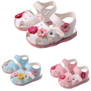 Toddler Kids New Flowers Girls Sandals Lighted Soft-Soled Princess Baby Shoes