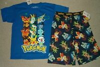 Pokemon T- Shirt And Pajama Shorts Sold As Set Sz 6/8 Or 10/12 $38 Total Rv