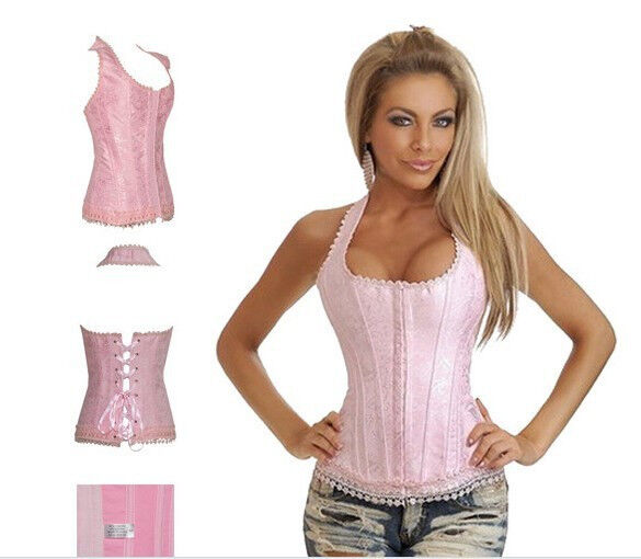 new arrival Fantacy Sexy Pink boned corset busiter with strap body shaper S-2XL