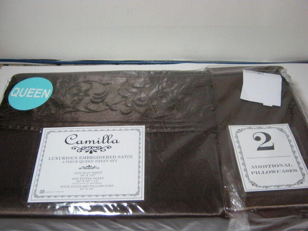 New 6 pcs S. L Signature CAMILLA QUEEN EMBROIDER QUEEN SHEET SET CHOCOLATE