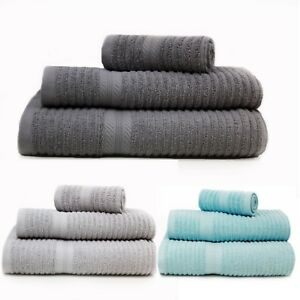 100-Cotton-Towels-Ribbed-Design-Face-Hand-Bath-Towel-Sheet-550gsm-Carded-Cotton