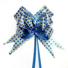 Pack of 10 30mm Blue Silver & Gold Fancy Flower Pull Bows Giftwrapping or Craft