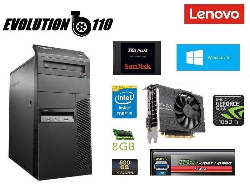 Lenovo Gaming PC Core i5 4570 3.60GHz 8GB Nvidia 1050 Ti 4GB Win10 Pro SSD