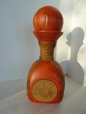Italy Tooled Leather Covered Glass Liquor Wine Bottle Bar Decanter