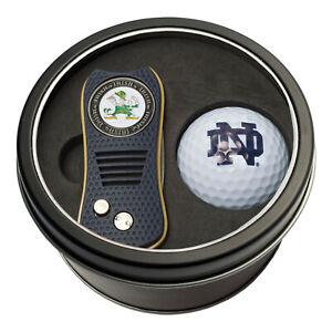 NCAA Notre Dame Fighting Irish Golf Ball + Switchblade Divot Tool Tin Gift Set