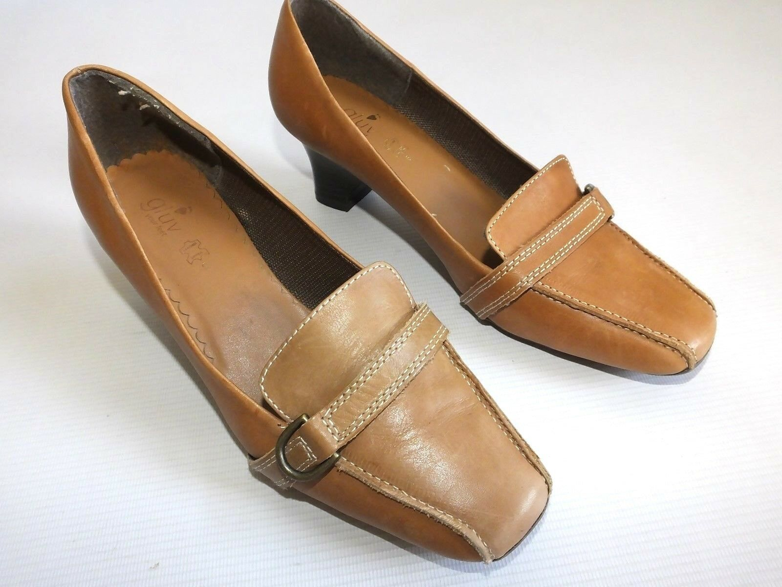 """Women's GLUV YOUR FEET LEATHER UPPER 2"""" Heel Court Shoes Size UK 5 Light Brown"""
