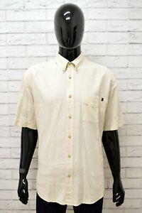 Camicia-Uomo-MARLBORO-CLASSICS-Taglia-XXL-Shirt-Maglia-Man-Lino-Beige-Regular