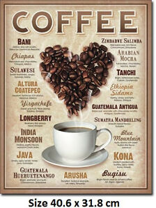 Coffee-Around-The-World-Metal-Tin-Sign-1844-Biggest-Selection-Of-Signs