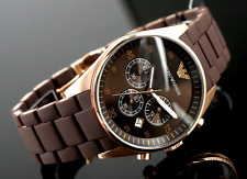 New Mens Emporio Armani AR5890 Brown & Rose Gold Chronograph Watch with Warranty