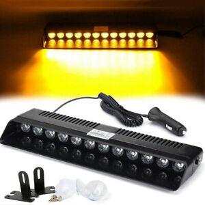 Car-Windshield-12-LED-Strobe-Light-Flashing-Dash-Emergency-Warning-Lamp-Ambe-Hs