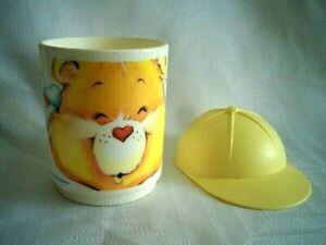 COMPLETE-Vintage-1986-CARE-BEAR-Plastic-Deka-FACE-MUG-CUP-Funshine-with-Hat