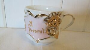 Antique-Gift-Present-Cup-Mug-Gold-Raised-Pink-Luster-Germany-1920s-White-China