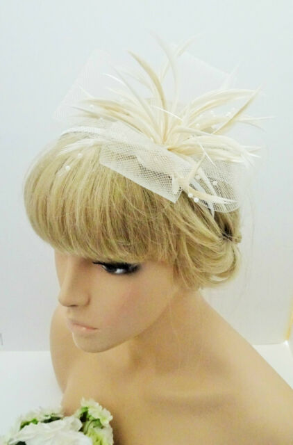 Stunning Cream Fascinator On a Headband Mesh Net Bow and Pearlised Beads