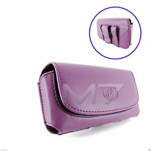 PURPLE-PREMIUM-LEATHER-POUCH-CASE-FOR-MOST-LG-PHONES-COVER-WITH-BELT-CLIP-LOOP