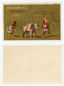 """Trade Card - JAS S KIRK & CO SOAP MAKERS, CHICAGO, ILLINOIS """"BLUE INDIA"""""""