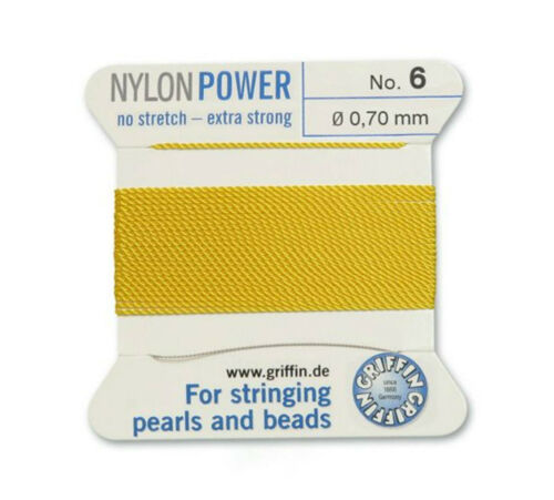 YELLOW NYLON POWER SILKY THREAD 0.70mm STRINGING PEARLS /& BEADS GRIFFIN 6
