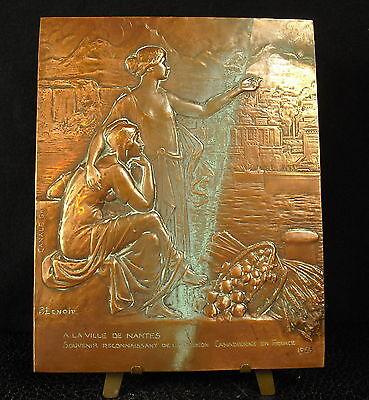 * Medalla 1923 De Ciudad Nantes Amistad Canadiense Canadá Fc P Lenoir Medalla Suave Y Antideslizante