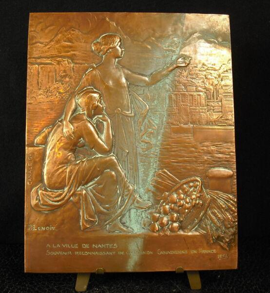 * Médaille 1923 A La Ville De Nantes Amitié Canadienne Canada Fc P Lenoir Medal