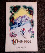 CPSM. LASALLE. 30 - Fantaisie. Pensées. Ski. Skieur. Pommes de Pins. 1948