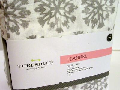 Target Threshold Twin Sheet Set Gray Snowflake White 100 Brushed Cotton Flannel Ebay