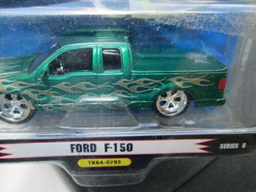 1 BADD RIDE GREEN FORD F-150 TRUCK W//GOLD FLAMES SCALE 1//64 SERIES 8//TK64-0793