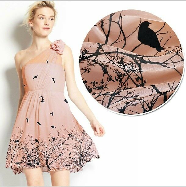 DESIGNER 100% PURE SILK CHIFFON BIRDS BRANCHES PRINT NUDE PINK BY THE YARD